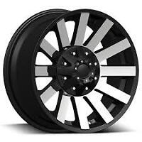 "BRAND NEW FULL SET! 20""BLACK&MACHINED WHEELS! DODGE,CHEVY,FORD!"