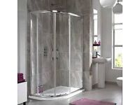 Bathroom Offset Quadrant Shower Enclosures. Tray and Waste.