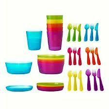 ikea kalas childrens plastic set of 6 bowls plates cups 18 pc