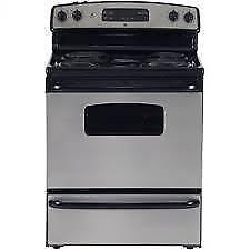 Cuisinière électrique GE 30 po, 5.0 pi. cu., Nettoyage Standard, Acier Inoxydable, (SKU:1145)
