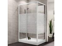 Plumbsure Rectangular Shower Enclosure with White Frame & Single Sliding Door (W)1200mm (D)760mm