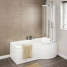 COMPLETE (P) SHAPE BATH, PANEL & SCREEN - ONLY £235.00 HEAPEST PRICE EVER