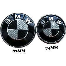 2x Bmw Black Carbon Bonnet Boot Badges 82mm + 74mm