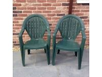 GREEN PATIO CHAIRS X 4 (PLASTIC)