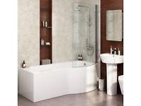 Unused - Shower Screen - Suitable for P shape bath