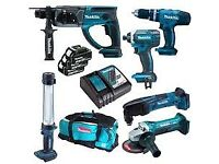 Makita 6 piece cordless set drill grinder torch saw 3 batteries etc