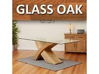 "MILANO ""X"" GLASS & WOOD COFFEE TABLE OAK"