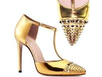 Authentic New Gucci T Strap Studded Gold Shoes size 37.5