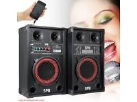 "DJ 200w PA/DISCO ACTIVE SPEAKERS with USB SD MIC INPUTS 8"" BASS WOOFER-NEW"