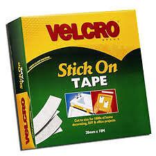 Velcro White Stick On Tape 20mm x 10Mtr