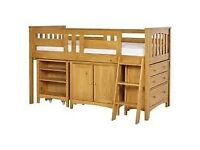 Cabin bed with cupboard, drawers and desk