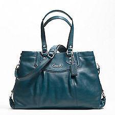 NWT-COACH-Ashley-Leather-Peacock-Blue-Teal-Bag-Purse-Handbag-19243 ...