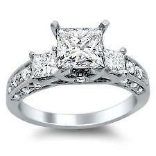 Sterling Silver Diamond Engagement Rings