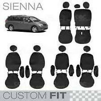 Custom Fit  Black Seat CoversToyota Sienna 2011 2015 all models