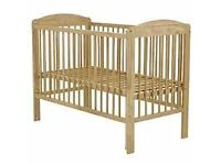 Winnipeg wooden cot, with mattress 120cm x 60cm. THE REAL COT COMPANY. In very good condition.