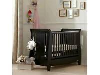 Dark brown sleigh cot bed,
