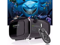 shinecon vr 3d gear glasses headphones with bluetooth remote £30 each 2 for £55