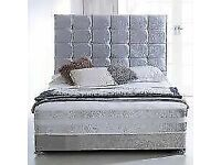 🔵💖🔴AMAZING OFFER🔵💖🔴DOUBLE/KING SIZE CRUSH VELVET DIVAN BED BASE W OPTIONAL MATTRESS💠