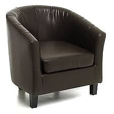 Brown Leather Tub Chair Good Condition