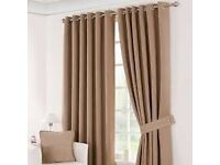 "Dunelm suede ""latte"" blackout curtains good condition"