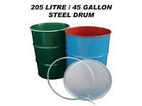 Steel drum, metal drum, burner bin, burning drum, wood burner, chiminea. £15 each reduced from £20