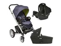 Black Joie Chrome pram with car seat travel system 3 in 1