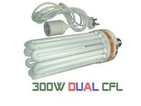 300w CFL Dual Spectrum Hydroponics Low Energy Grow & Flower Lamp, Bulb + E40 4.5m Light Pendant