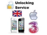 Iphone 5/5s 6/6s unlock three, O2, vodafone