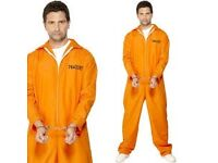 ORANGE ESCAPED PRISONER / CONVICT FANCY DRESS SIZE M GREAT FOR PARTY / STAG DO OR HALLOWEEN