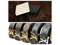 mens belts designer £15 each 2 for £25 and wallets £10