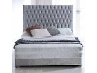 cruch velvet bed with high head same day delivery