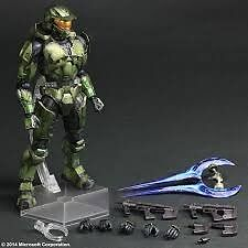 Halo 2 Master Chief Play arts KAI figure with box and stand.