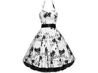 Ladies 50's Vintage Style White & Black Floral Halter Neck Jive Prom Swing Dress