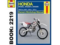 honda xr250l xr250r xr400r owners manual
