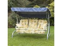 Garden Patio Swing with Padded Cushions. Seats 3. Good Condition