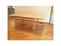 IKEA NORDEN EXTENDABLE DINING TABLE, 2 NORDEN BENCHES & NORDEN SIDEBOARD