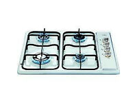 GAS HOB 60CM 4 RING BUILT IN INTEGRATED IN WHITE BRAND NEW IN BOX