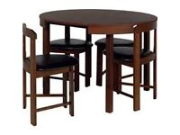 Hygena Alena Wood Stain Circular Dining Table and chairs