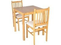 Kendall Square Solid Wood Dining Table & 2 Chairs-Cream