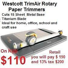 "Westcott Trim Air Rotary Paper Trimmers $ 110 and  X-ACTO 12"" Personal Rotary Trimmer $15"