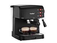 VonShef 15 Bar Pump Espresso Coffee Maker Machine - Create Espressos, Lattes, Cappuccinos & More!