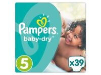 4 x Pampers Baby Dry Size 5 (39 Nappies each)