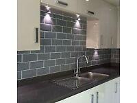 Grey metro/polished brick wall tiles