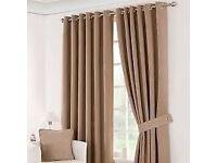 """Dunelm suede """"latte"""" blackout curtains good condition"""