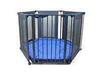 Navy Lindam Safe & Secure Fabric Baby/Toddler Playpen, Safety Gate & Room Divider