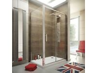 Bathroom Slider Door Shower enclosure. Tray, Waste and Side Panel.