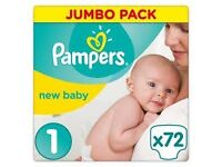 Pampers 200 nappies size 1