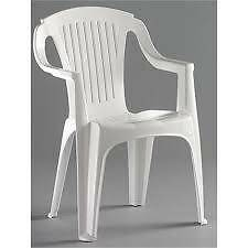 Outdoor/function adult white resin chairs Bringelly Camden Area Preview