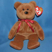 Teddy New Face Brown the bear Ty Beanie Baby stuffed animal