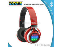 wireless headset foldable led flash light headphones with TF card FM